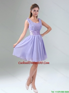 Perfect Straps Lavender Ruched Mini Length Cocktail Dresses for Weddings with Waistband