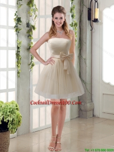 Simple Ruching Strapless Princess Cocktail Dresses for Weddings with Bowknot