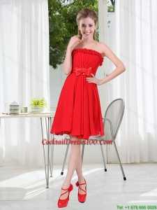 Wonderful Ruching Strapless Bowknot Cocktail Dresses for Weddings in Red