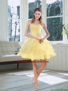 2015 Light Yellow Beading Puffy Charming Cocktail Dresses with Sweetheart