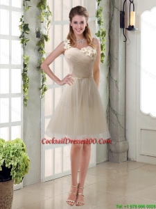 Champagne Ruched Handmade Flowers One Shoulder 2015 Chic Cocktail Dresses