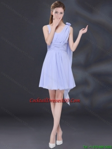 Chiffon Ruching 2015 Lavender Charming Cocktail Dresses with One Shoulder