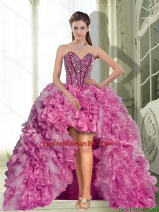 Dynamic High Low Beading and Ruffles 2015 Cocktail Dresses for Weddings