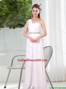 One Shoulder Empire Ruching Sequins White Cocktail Dresses for Weddings