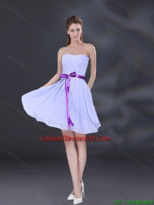 Ruching and Belt Chiffon Cocktail Dresses for Weddings in Lavender