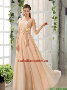 Scoop Ruching Cap Sleeves Chiffon Cocktail Dresses for Weddings in Champagne