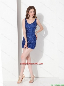 2015 Popular Sequins Scoop Cocktail Dresses for Weddings in Blue