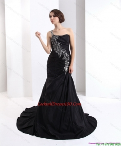 2015 Romantic One Shoulder Elegant Cocktail Dress with Brush Train