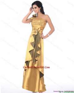 Gorgeous One Shoulder Gold Charming Cocktail Dresses with Hand Made Flowers and Ruching