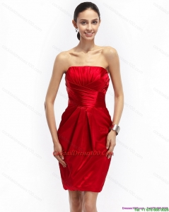 Most Popular Strapless Ruching Elegant Cocktail Dresses in Red