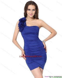 One Shoulder Royal Blue Elegant Cocktail Dresses with Hand Made Flower