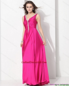 Perfect Hot Pink Long Prom Charming Cocktail Dresses with Beading and Ruching