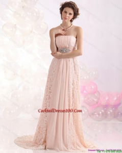 Popular Strapless Sequins and Lace Cocktail Dresses for Weddings with Brush Train