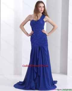 Pretty 2015 One Shoulder Cocktail Dresses for Weddings with Ruching and Beading