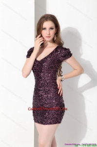 2015 Luxurious V Neck Mini Length Elegant Cocktail Dress with Sequins