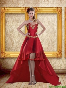 Fashionable High Low Sweetheart Wine Red Beading Elegant Cocktail Dresses