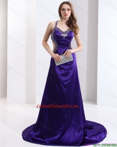 Luxurious 2015 Halter Top Purple Criss Cross Chic Cocktail Dresses with Court Train
