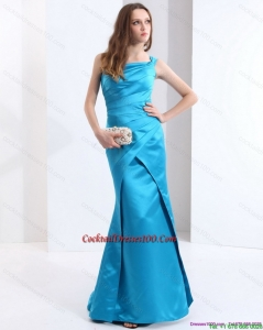 One Shoulder Baby Blue Long Chic Cocktail Dresses with Brush Train