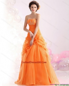2015 Luxurious Strapless Orange Red Cocktail Dress with Hand Made Flowers and Beading