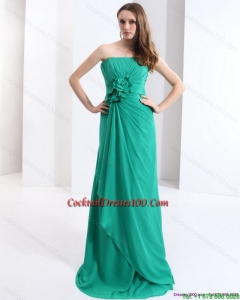2015 New Style Strapless Cocktail Dress with Hand Made Flowers and Ruching