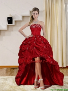 2015 Pretty Strapless Red High low Cocktail Dresses with Embroidery and Pick Ups