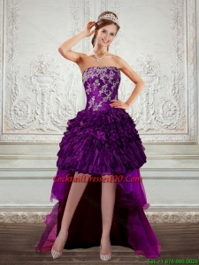 Dark Purple Strapless High low Cocktail Dresses with Embroidery and Ruffles
