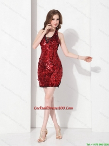 Dynamic Sequins Halter Top 2015 Cocktail Dresses in Red