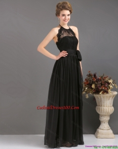 Gorgeous 2015 Halter Top Sash Cocktail Dress in Black