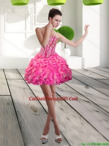 Gorgeous Mini Length Sweetheart Beading and Ruffles Cocktail Dress for 2015