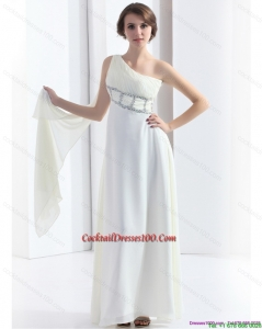 2015 New Style One Shoulder White Cocktail Dress with Watteau Train and Beading