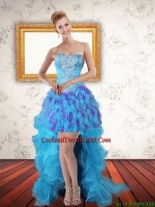 Beautiful Sweetheart High Low Ruffles Fairy Cocktail Dresses in Multi Color
