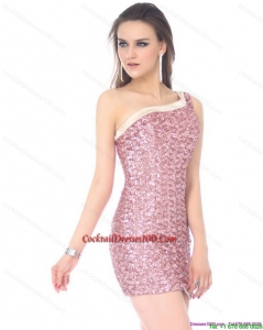 Elegant One Shoulder Sequins Mini Length Cocktail Dress for 2015