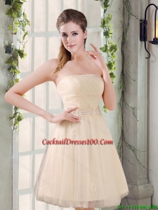 Strapless Appliques 2015 New Fairy Cocktail Dress in Champagne