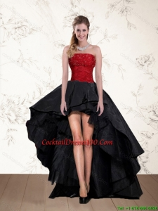 Cheap High Low Strapless Beaded Fairy Cocktail Dresses in Red and Black