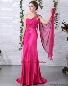 Elegant 2015 One Shoulder Fuchsia Fairy Cocktail Dress with Beading and Ruchin