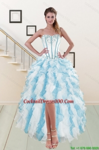 2015 Most Popular Sweetheart Cocktail Gown with Appliques and Ruffles