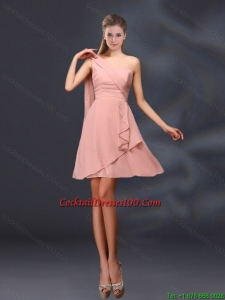 2015 One Shoulder Ruching Chiffon Inexpensive Cocktail Dress in Peach