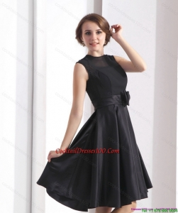 2015 Perfect Black Knee Length Inexpensive Cocktail Dress with Bowknot