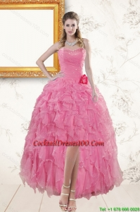 2015 Rose Pink Sweetheart Cocktail Dresses with Beading and Ruffles
