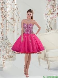 2015 Sweetheart Hot Pink Sequins and Appliques Inexpensive Cocktail Dress