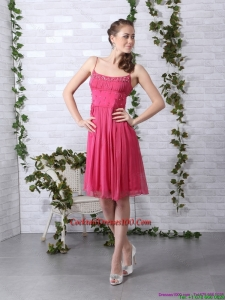 Beading Spaghetti Straps Ruching Coral Red Cocktail Dresses for 2015