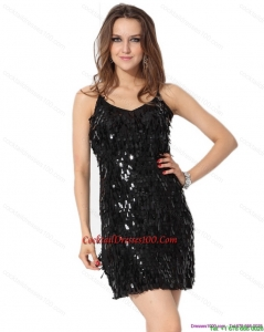 Gorgeous 2015 Black Spaghetti Straps Inexpensive Cocktail Dress with Sequins