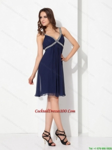 Juniors Sequins Ruffled Navy Blue Perfect Cocktail Dresses for 2015 Summer