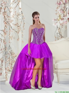 Lovely Beading Purple Cocktail Dresses for 2015