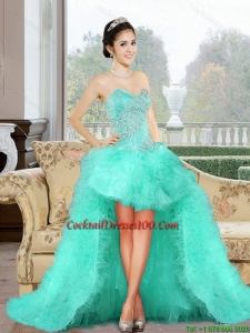 Luxurious 2015 High Low Inexpensive Cocktail Dress with Appliques and Ruffles