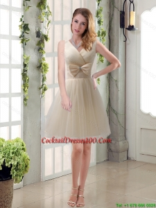 Summer New Arrival Champagne Bowknot Princess Cocktail Dresses with V Neck