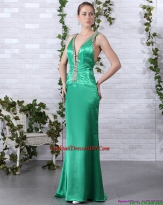 2015 Lovely Beading Long Cocktail Dresses with Brush Train