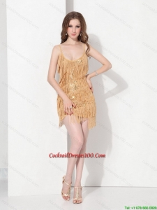 Fall New Arrival Gold Sequins and Mini Length Cocktail Dresses with Spaghetti Straps
