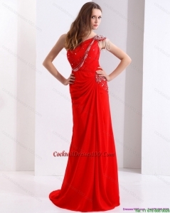 Lovely 2015 One Shoulder Red Cocktail Dress with Beadings and Brush Train