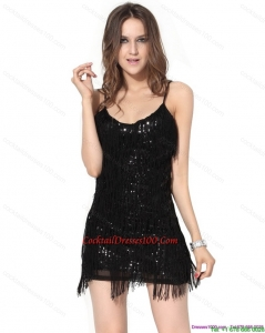 Lovely Black Sequins Mini Length Cocktail Dresses with Macrame